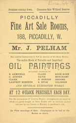 Advert for the Fine Art Sale Rooms in Piccadilly